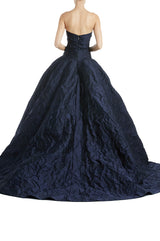 Monique Lhuillier RTW Gown Navy Strapless