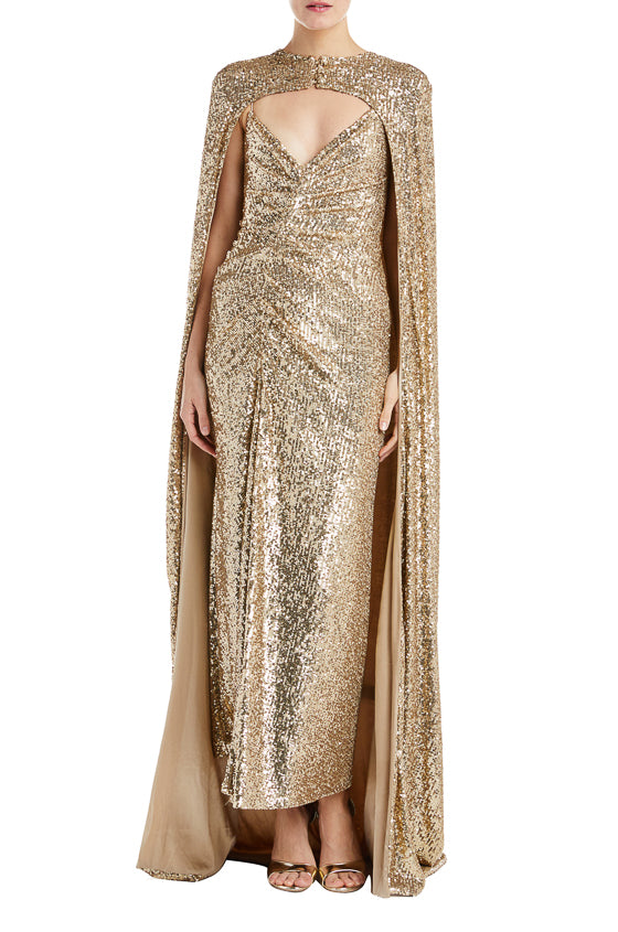 Fall 2019 RTW Gold Sequin Cape Monique Lhuillier
