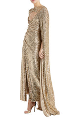 Evening Cape Gold Monique Lhuillier F19
