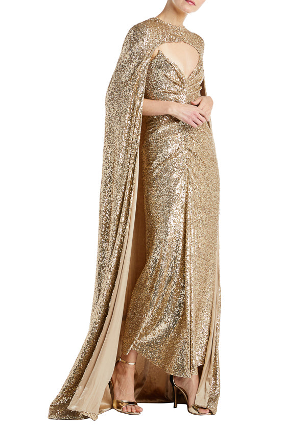 Monique Lhuillier Gold Sequin Cape