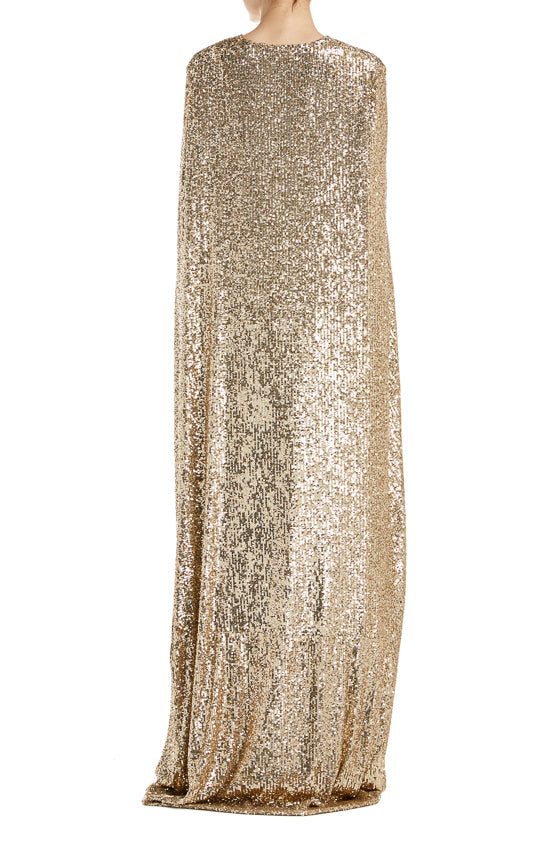 Fall 2019 Sequin Gold Cape Monique Lhuillier