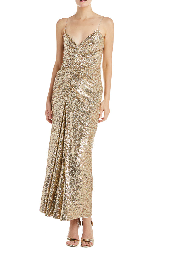 Fall 2019 Gold Sequin Dress Monique Lhuillier