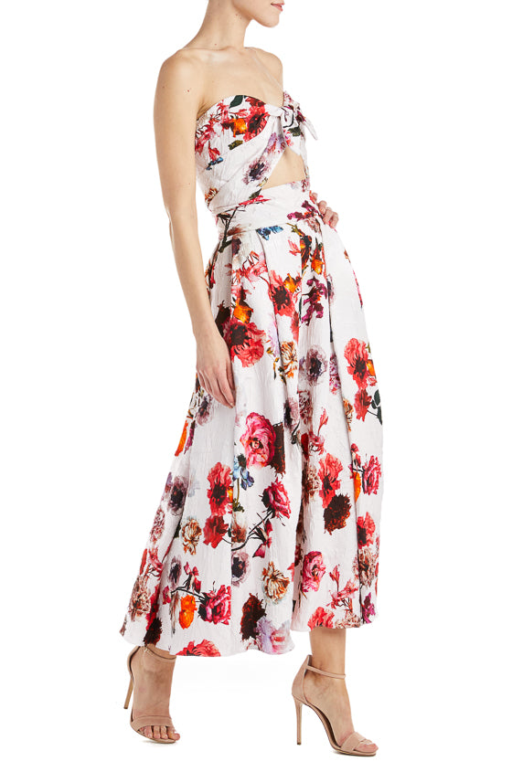 Monique Lhuillier Blush Floral Midi Skirt