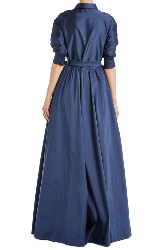Fall 2019 RTW Navy Taffeta Gown Monique Lhuillier
