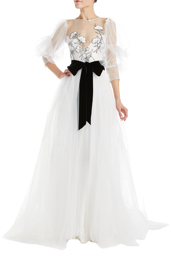 Silk white tulle ball gown