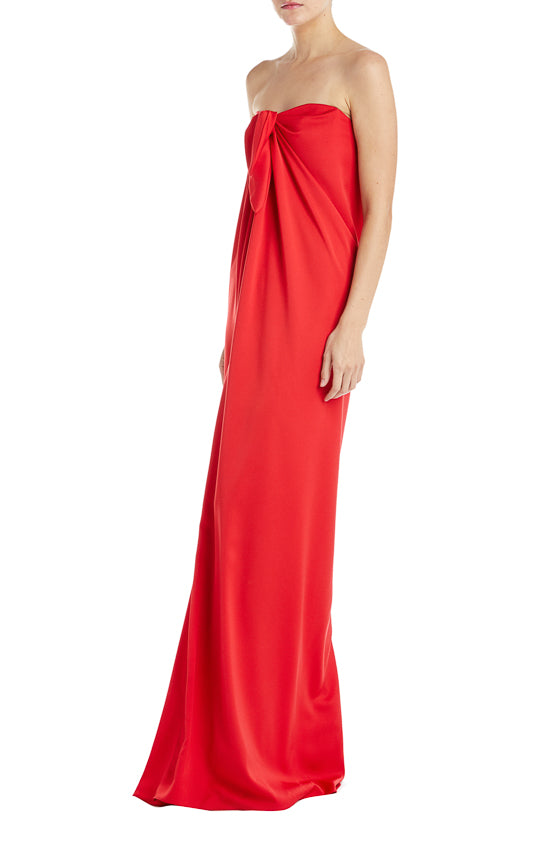 Strapless Red Evening Gown Monique Lhuillier