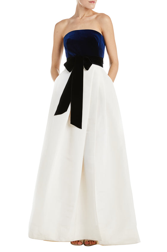 Strapless Gown With Velvet Bodice