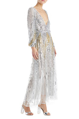 Art Deco Silver Dress