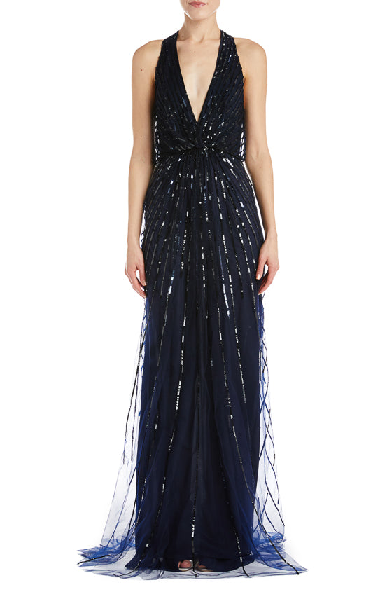 Navy beaded gown