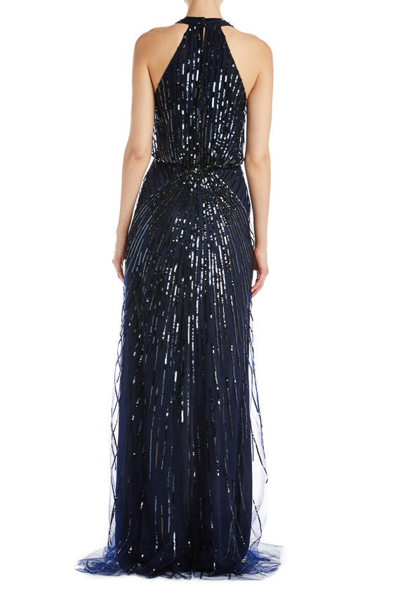 Monique Lhuillier Beaded Navy Gown