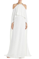 Monique Lhuillier White Draped Gown