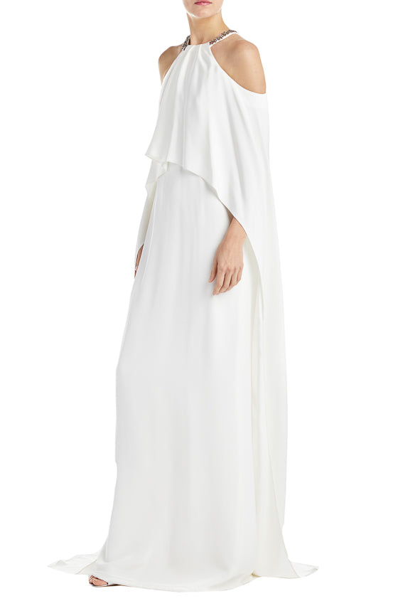 Silk white halter gown fall 2019