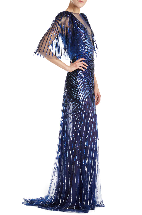 Embroidered Sapphire Monique Lhuillier Gown F19
