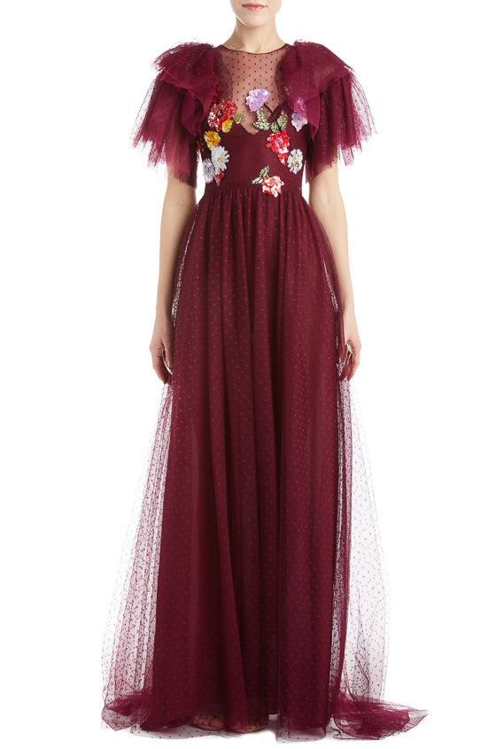 Bordeaux Tulle Evening Gown- FINAL SALE