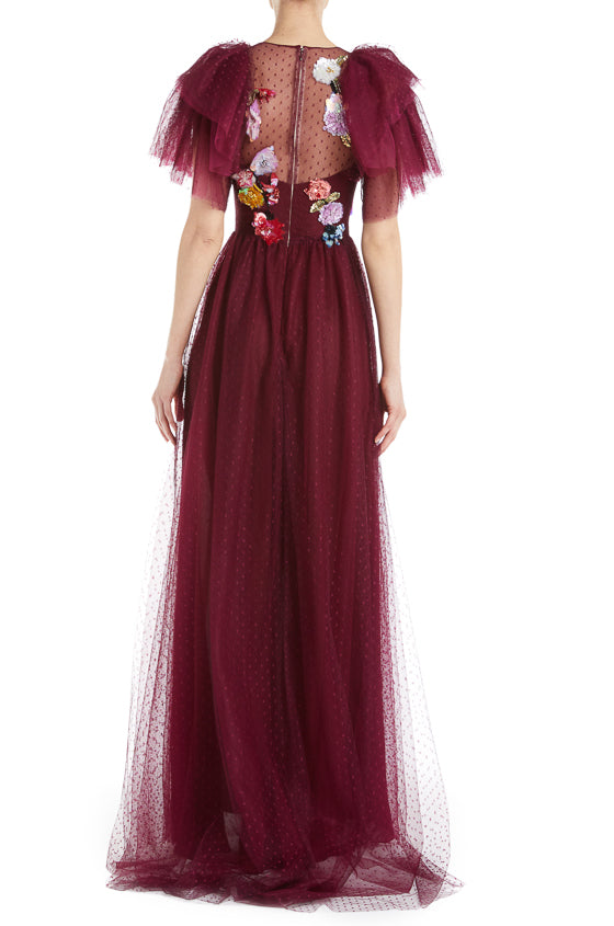 Bordeaux Tulle Gown Monique Lhuillier