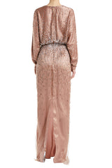 Mauve V-neck evening Gown