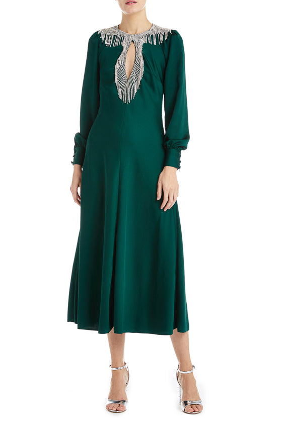 Dark Green Midi Dress Fall 2019