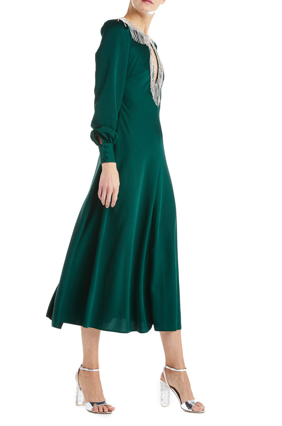 Green cocktail dress Fall 2019