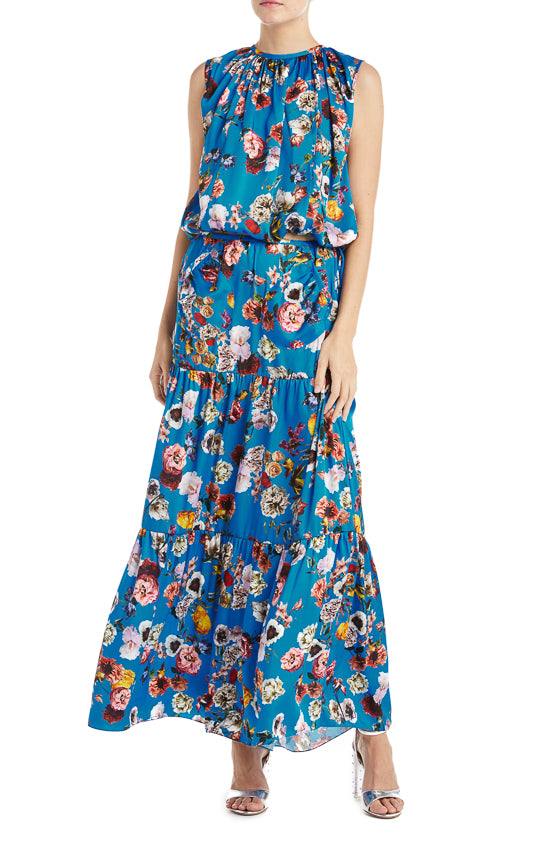 Monique Lhuillier Fall 2019 Blue Floral Top