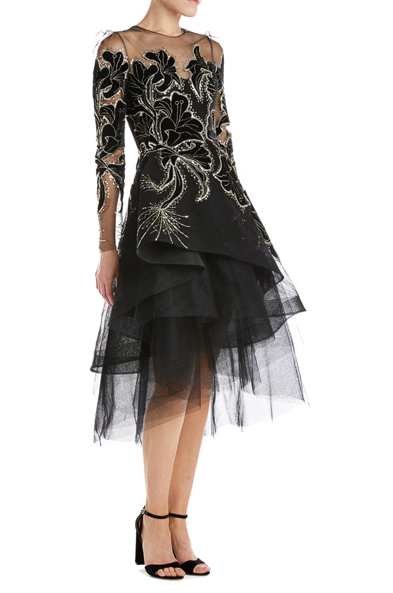 Fall 2019 RTW Floral Velvet Black Tulle Dress