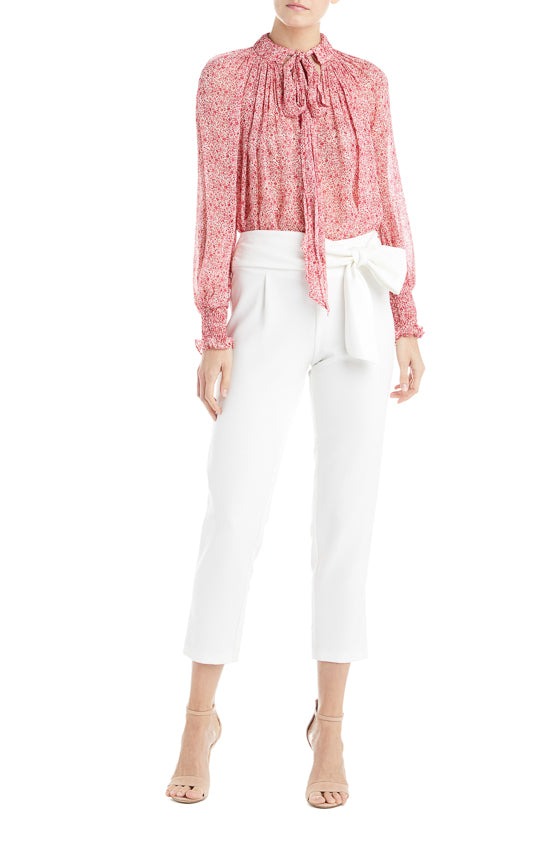 ML Monique Lhuillier White Crepe Pant