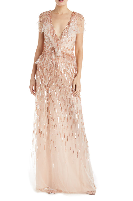 Beaded flutter sleeve gown