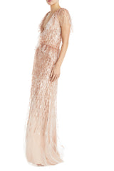 blush evening gown v neck
