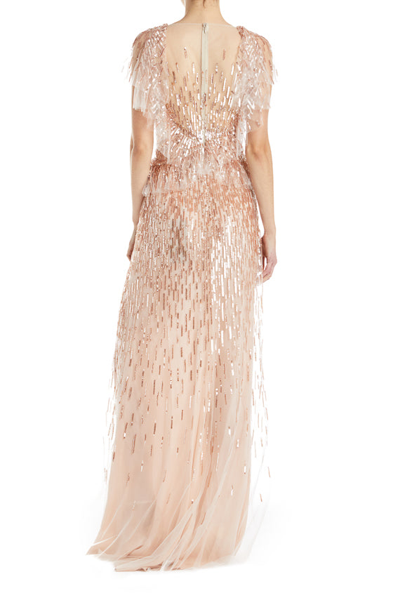 Monique Lhuillier Beaded Blush Gown