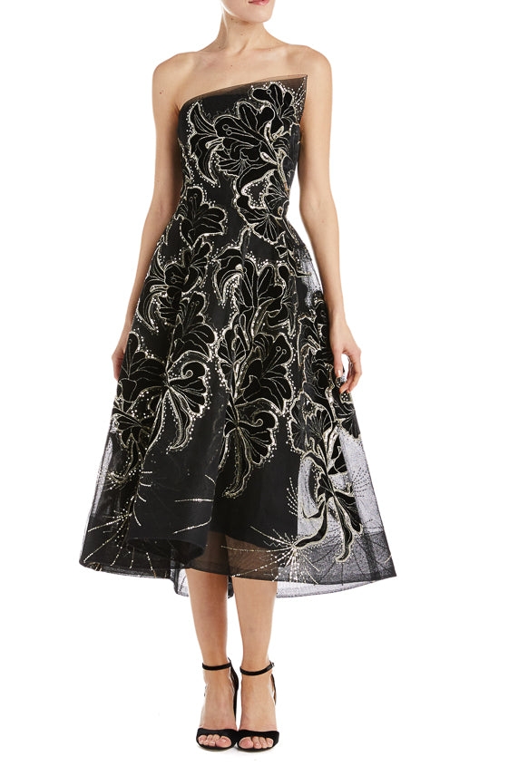 Strapless tea length dress monique lhuillier