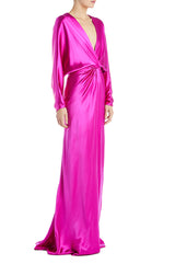 Fuchsia Silk Evening Gown Monique Lhuillier