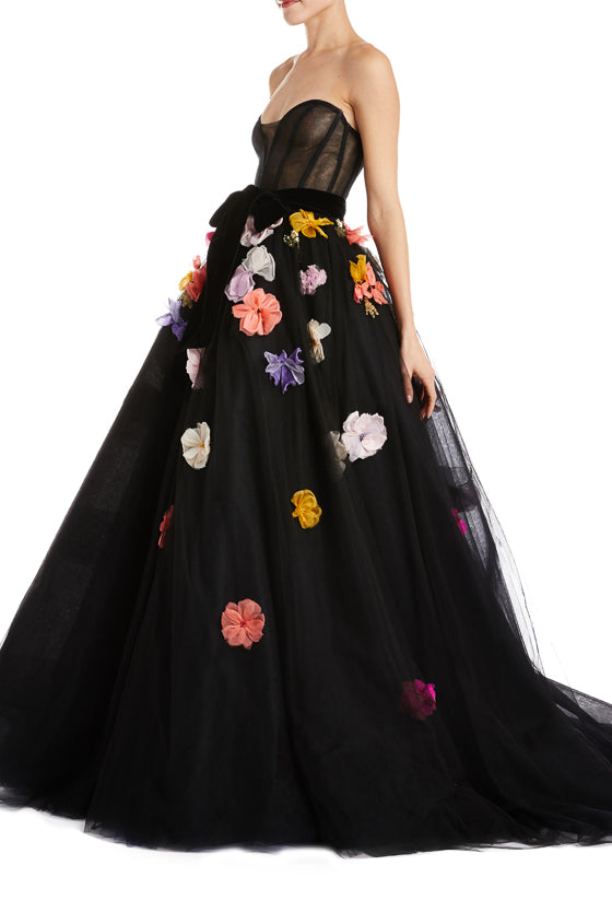 Floral Evening Gown Monique Lhuillier F19