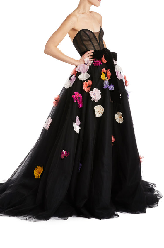 Floral Evening Gown Black Monique Lhuillier