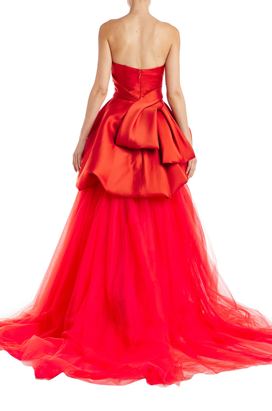 Red Tulle Evening Gown Monique Lhuillier