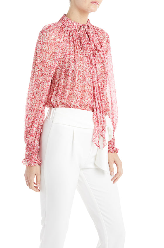 Flowy Pink Blouse ML Monique Lhuillier