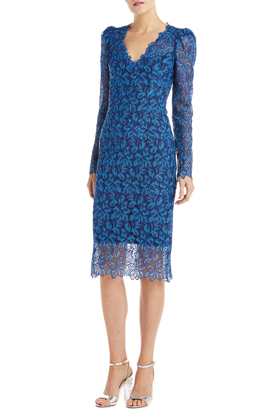 Monique Lhuillier Cocktail Dress Blue