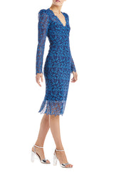 Blue Lace Dress Monique Lhuillier