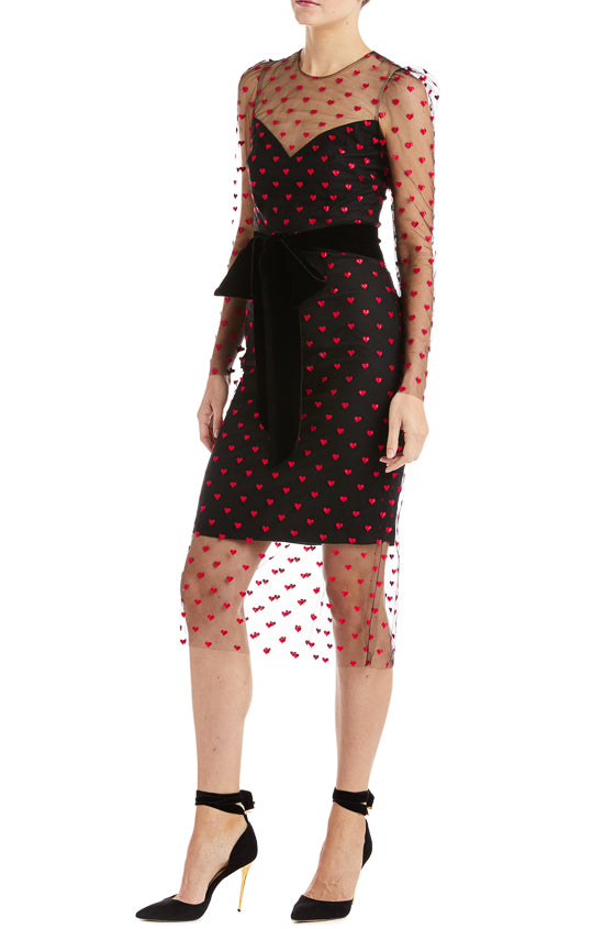 Monique Lhuillier Heart Print Dress