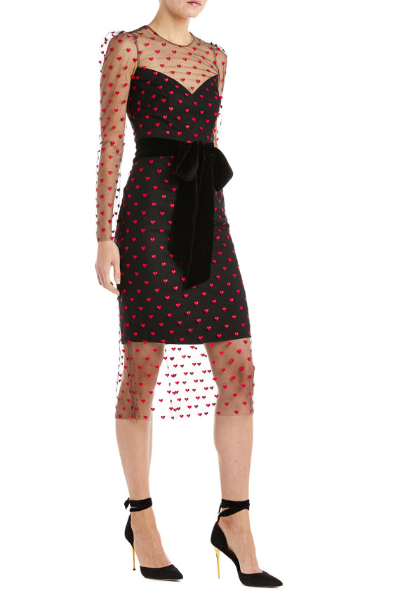 Heart Print Midi Dress Monique Lhuillier