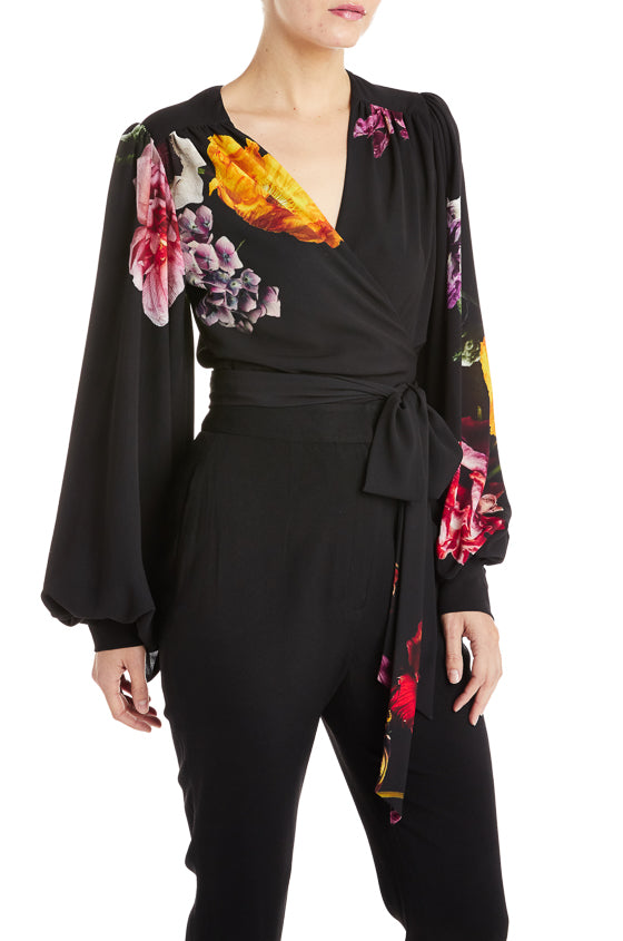 Black Top Floral Monique Lhuillier