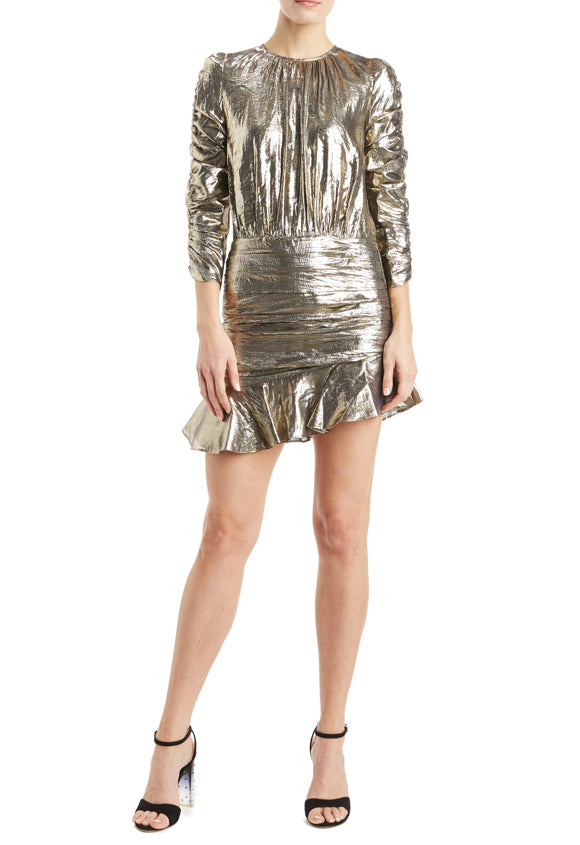 Long sleeve gold dress with ruched detailing