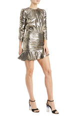 ML Monique Lhuillier Gold Metallic Holiday Dress