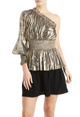 Gold Metallic fall 2019 top with one sleeve