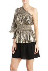 MLML Gold Metallic top with smocking detail