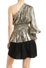 Gold one shoulder top with smocking detail Metallic
