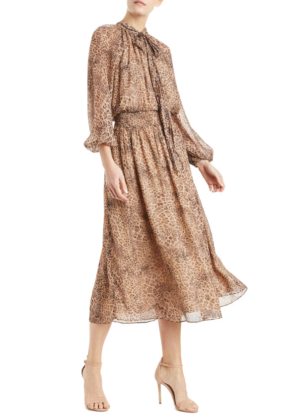 ML Monique Lhuillier Leopard Midi Dress