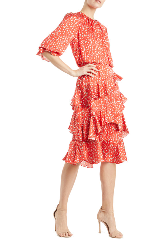 Printed Ruffle Dress Red