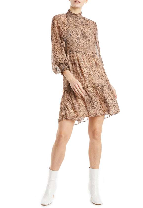 ML Monique Lhuillier Leopard Print Dress