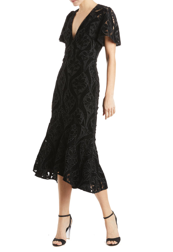 ML Monique Lhuillier black v neck dress