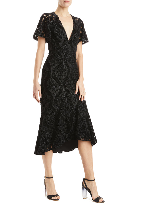 Fall 2019 black v-neck dress MLML