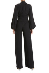Long sleeve pleated jumpsuit BLACK